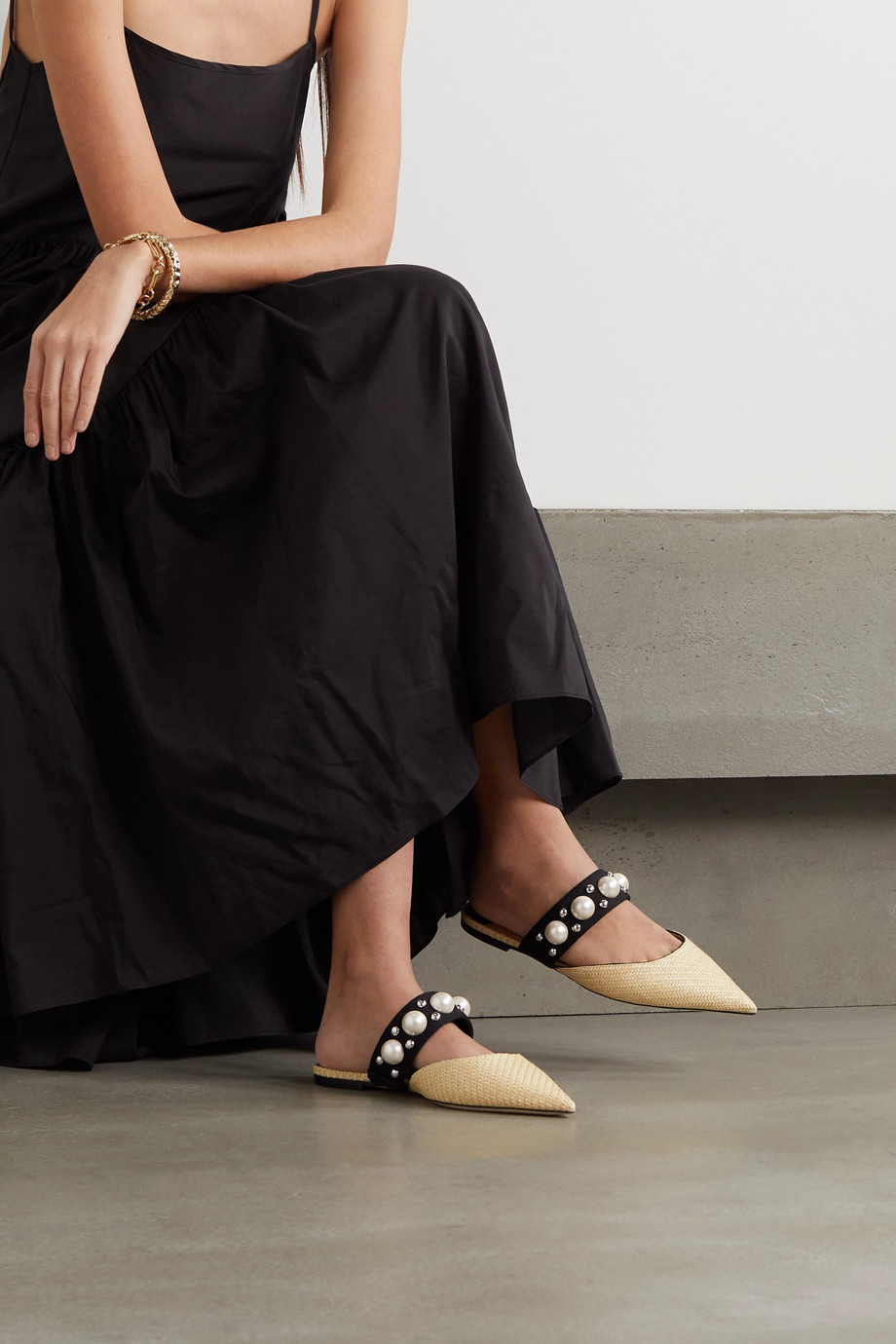 Jimmy Choo Basette embellished raffia point-toe flats