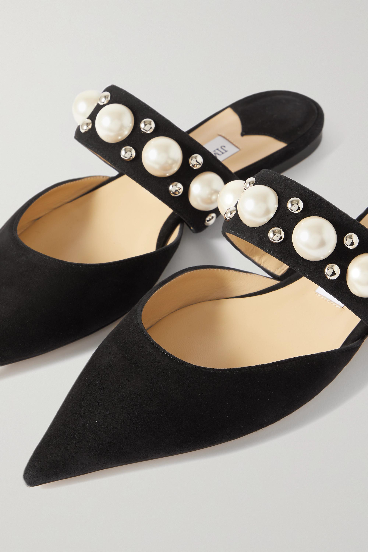 Jimmy Choo Basette embellished suede point-toe flats