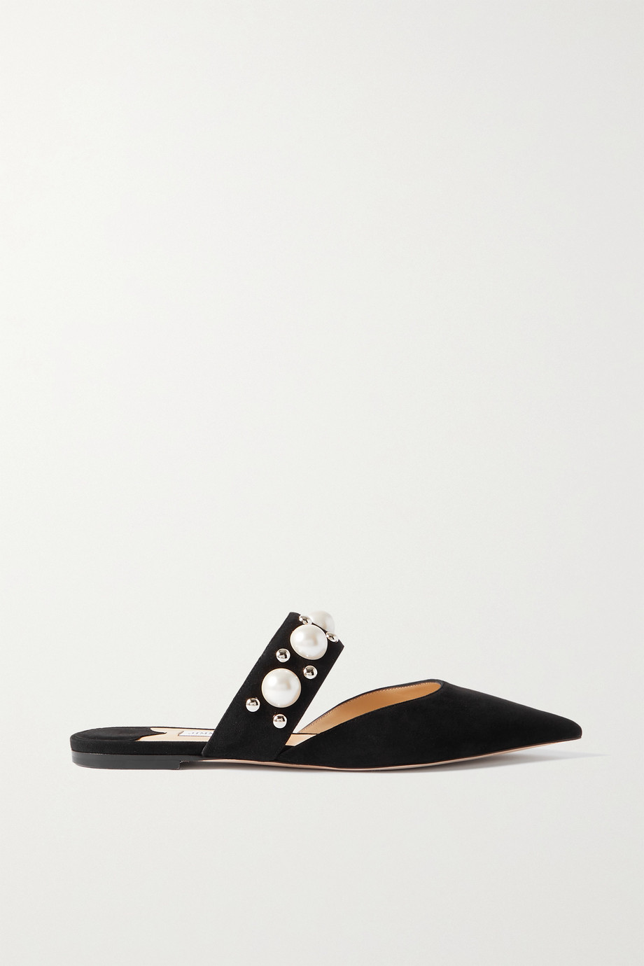 Jimmy Choo Basette embellished suede point-toe flats