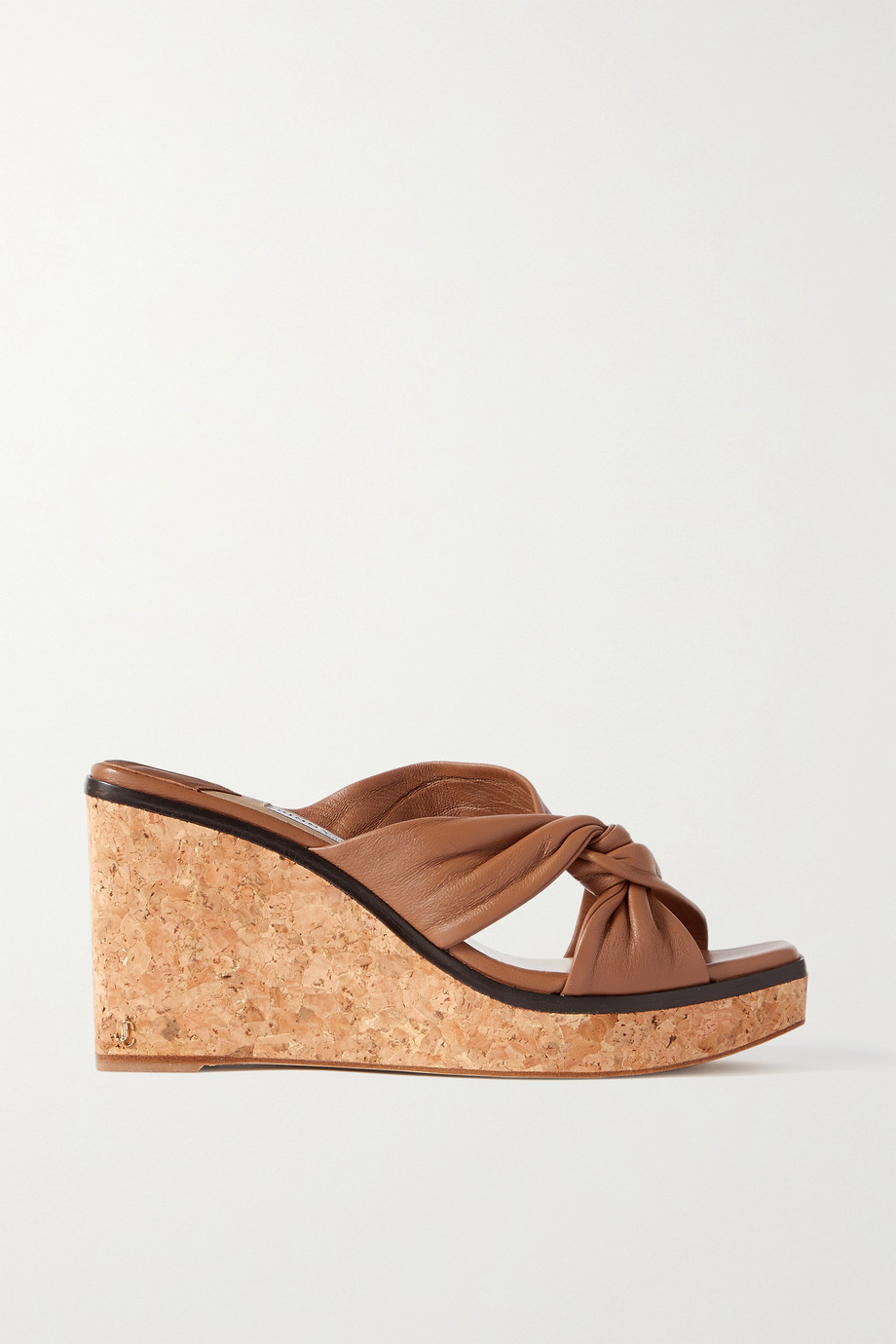 Jimmy Choo Narisa 90 knotted leather wedge sandals