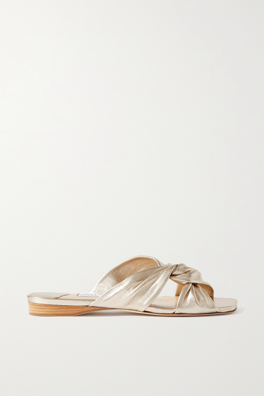 Jimmy Choo Narisa knotted metallic leather sandals
