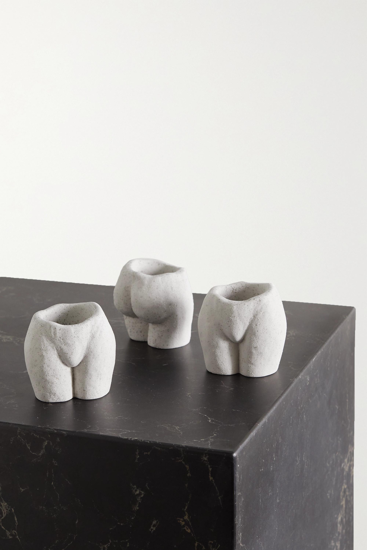 White Rock Bottom Set Of Three Speckled Ceramic Tea Light Holders Anissa Kermiche Net A Porter