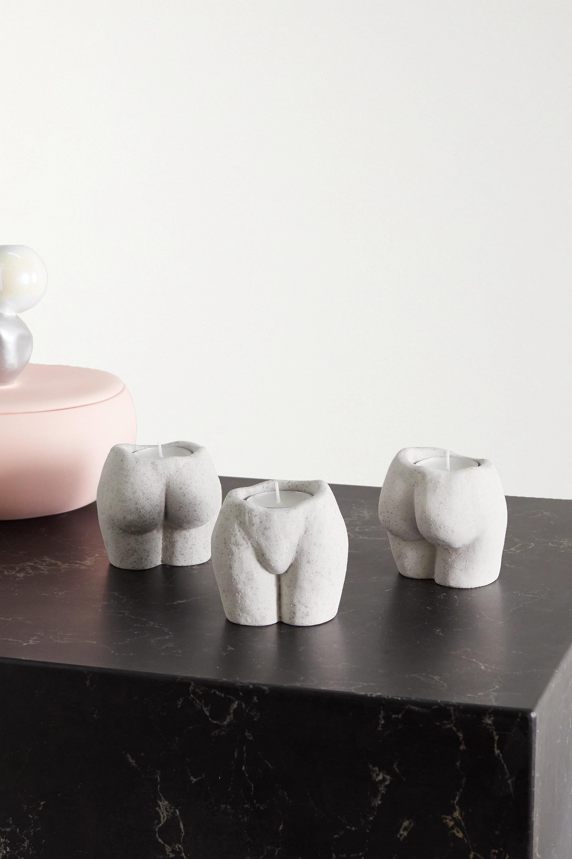 Anissa Kermiche Lot de trois bougeoirs en céramique mouchetée Rock Bottom