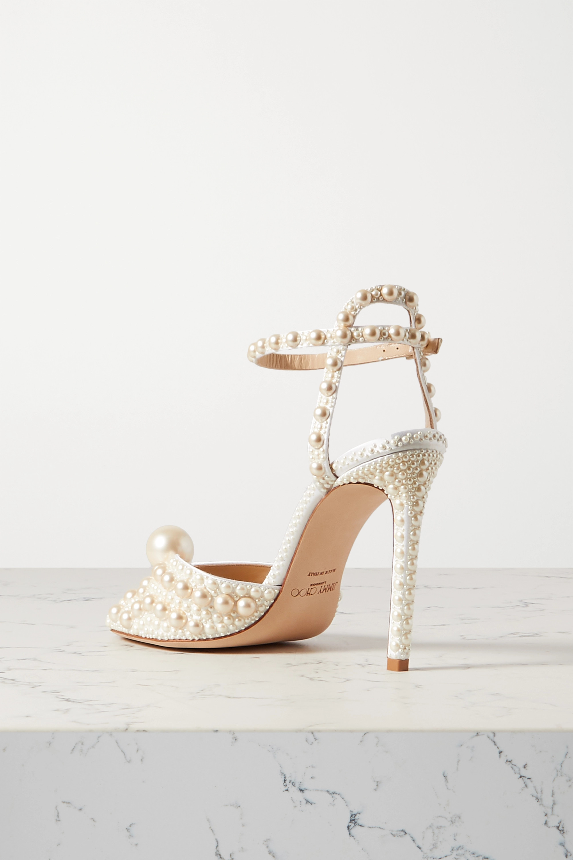 Jimmy Choo Sacora 100 faux pearl-embellished satin sandals