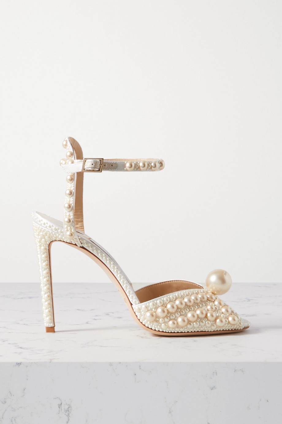 Jimmy Choo Sacora 100 faux pearl-embellished satin sandals