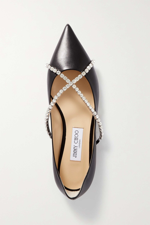 Jimmy Choo Genevi crystal-embellished leather point-toe flats