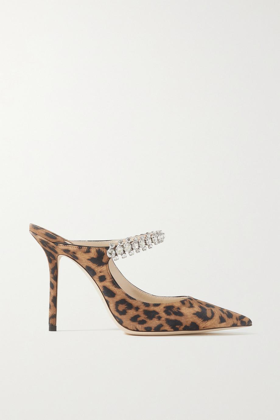 Jimmy Choo Bing 100 crystal-embellished leopard-print suede mules