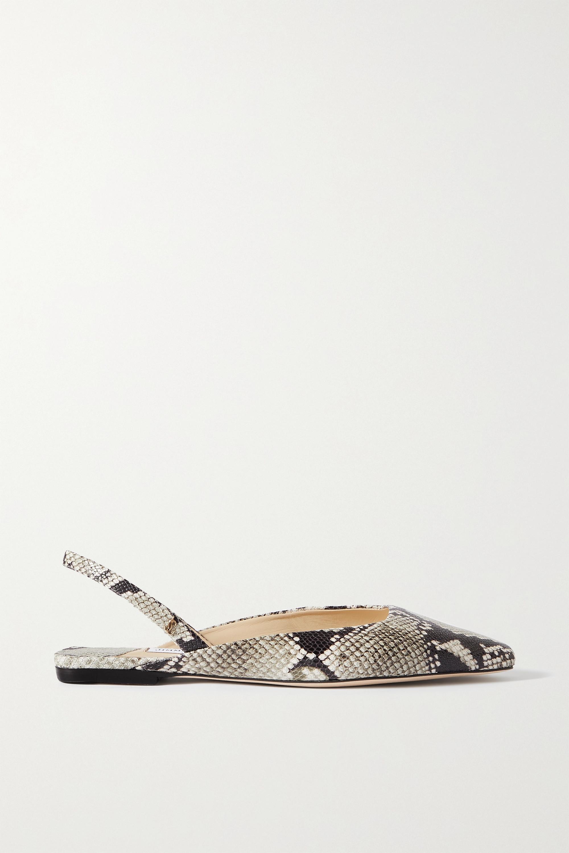 Jimmy Choo Gini snake-effect leather slingback flats