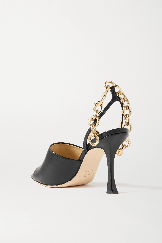 Jimmy Choo Sae 90 chain-embellished leather slingback sandals