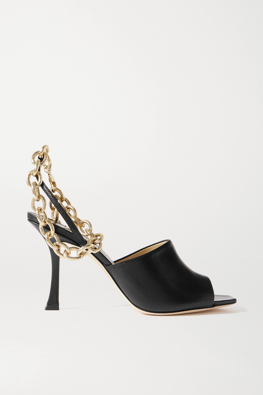 Jimmy Choo Sae 90 chain-embellished leather slingback sandals