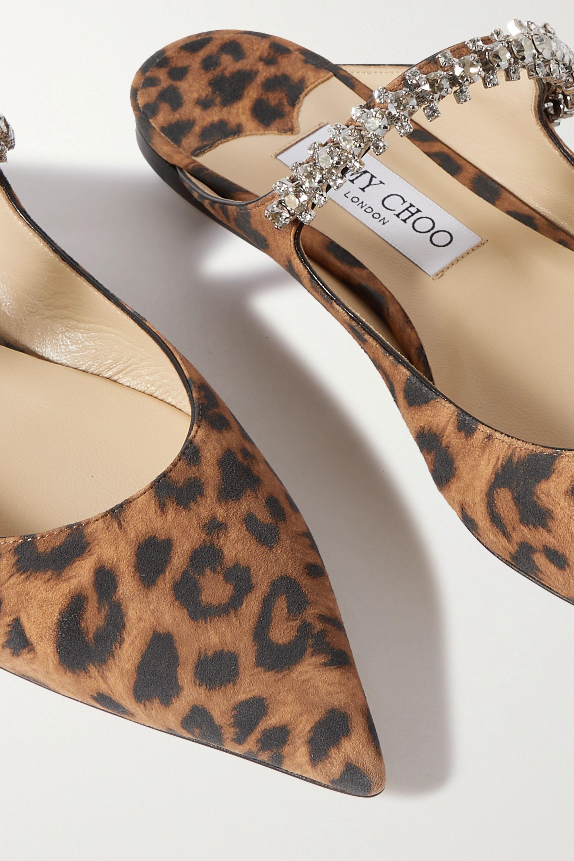 Jimmy Choo Bing crystal-embellished leopard-print suede point-toe flats