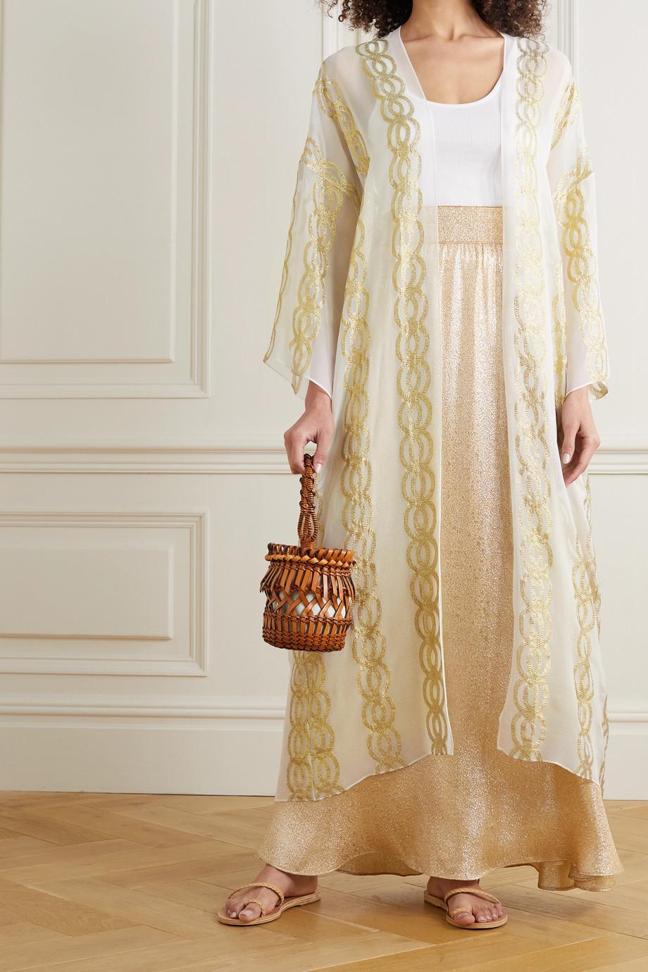 Marie France Van Damme Metallic silk-blend jacquard robe