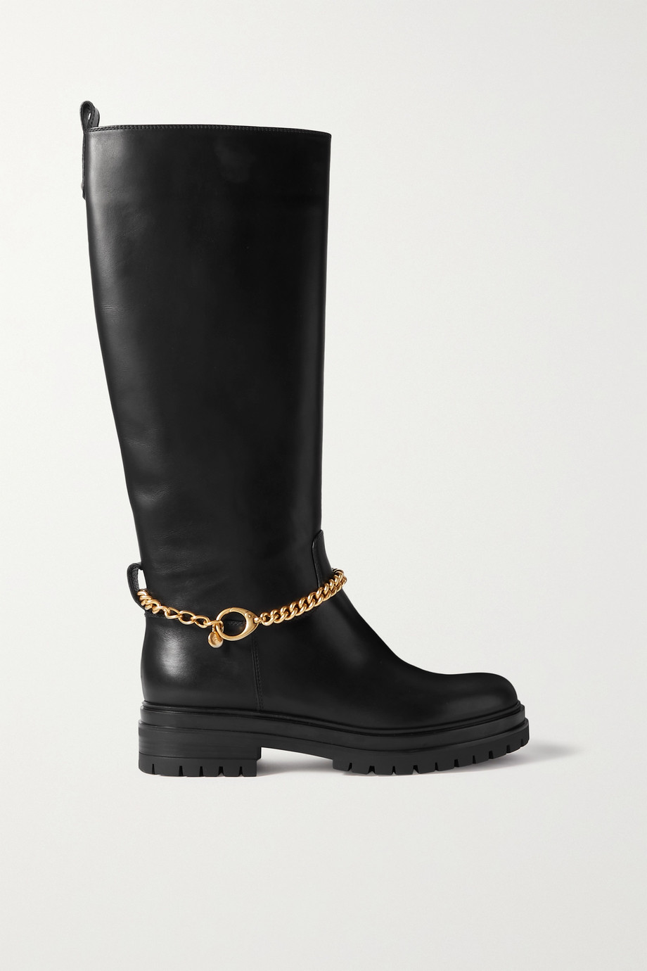 Gianvito Rossi Chain-embellished leather knee boots