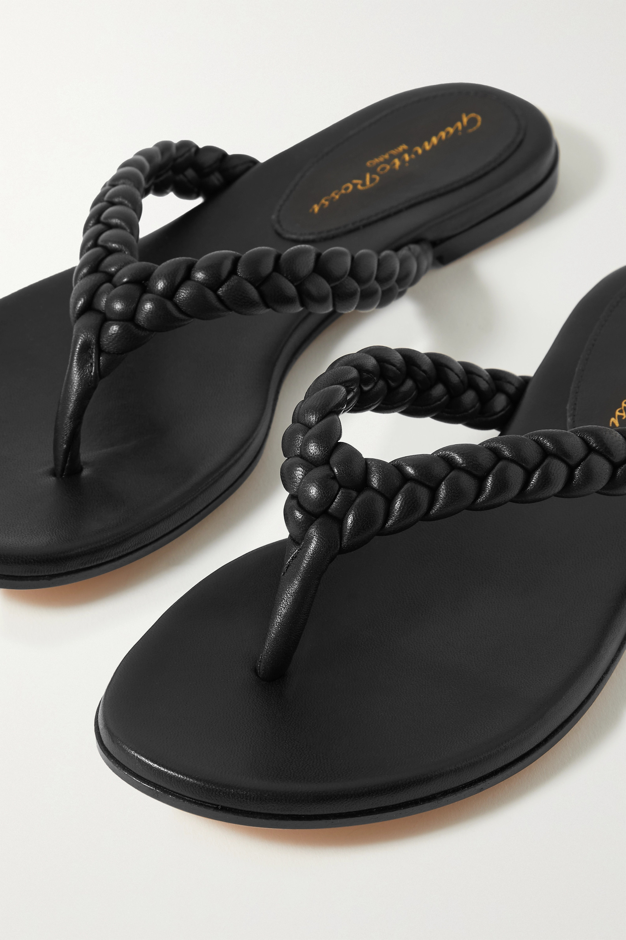Gianvito Rossi Tropea braided leather flip flops