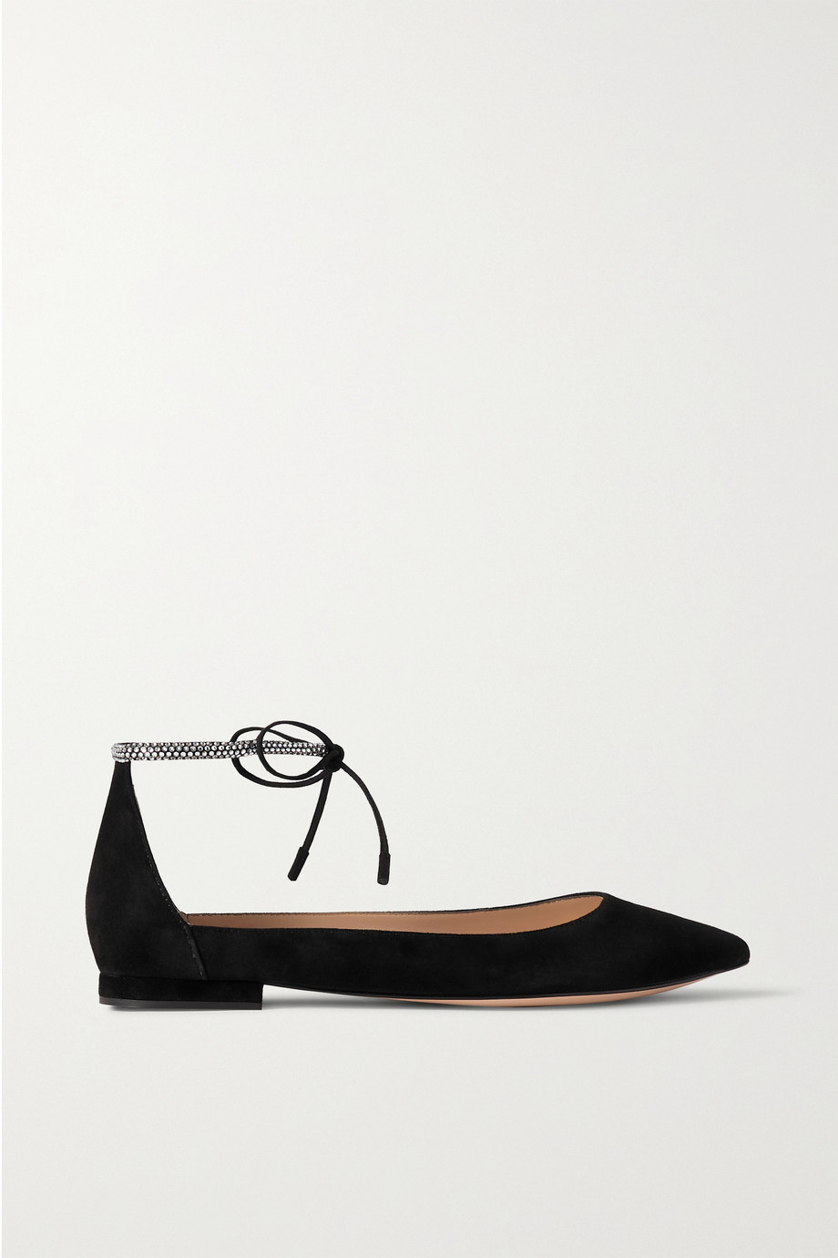 Gianvito Rossi Crystal-embellished suede point-toe flats