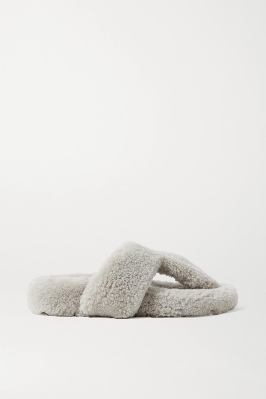 Aquazzura Relax shearling flip flops