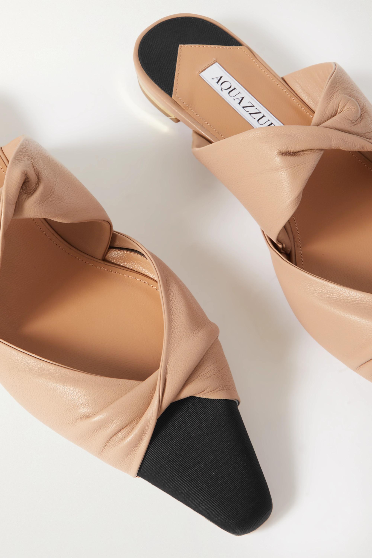 Aquazzura Twist Slippers aus Leder mit Faille-Besatz