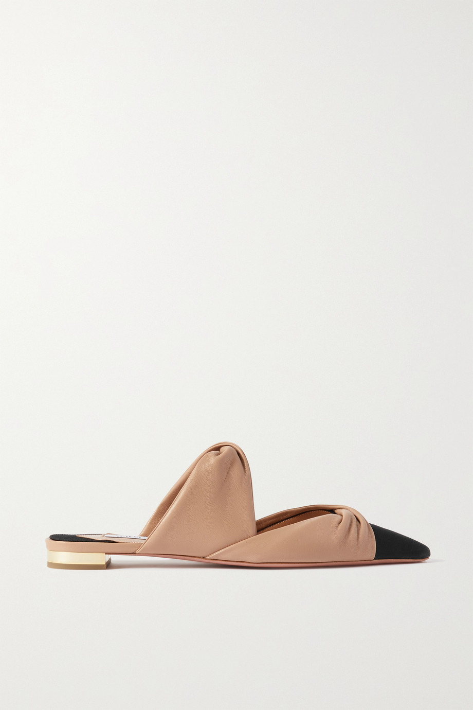 Aquazzura Twist faille-trimmed leather mules