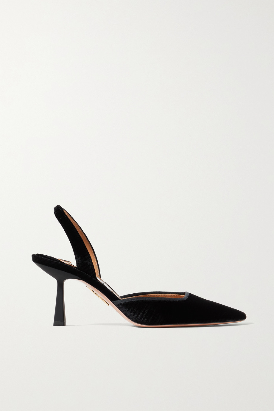 Aquazzura Maia 75 striped velvet slingback pumps