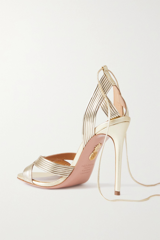 Aquazzura Ari 105 metallic leather sandals