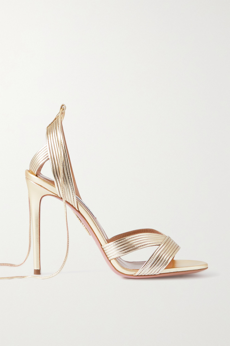 Aquazzura Ari 105 metallic leather sandals