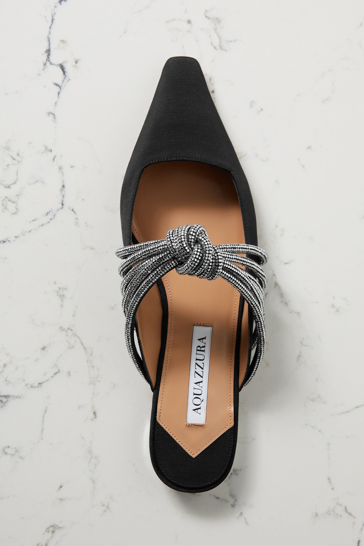 Aquazzura Celeste Slippers aus Faille mit Knoten und Kristallen