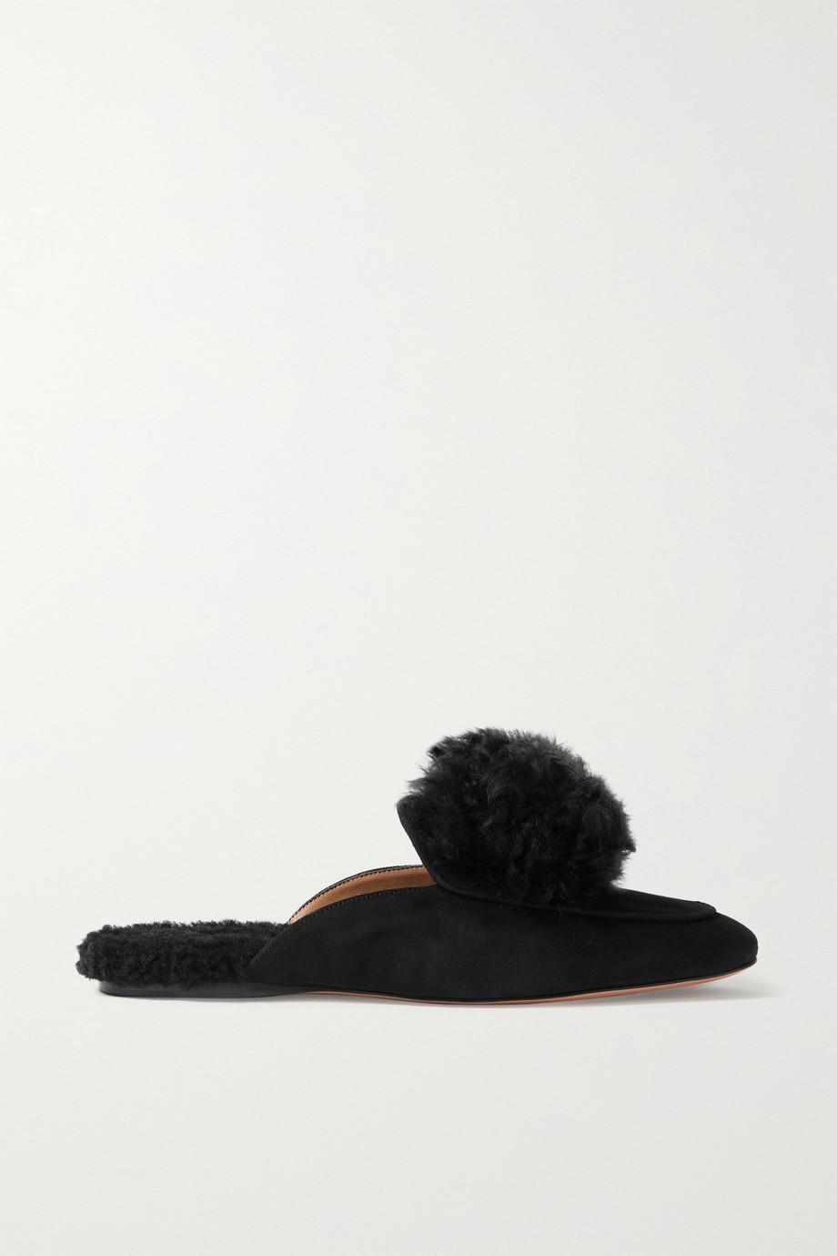 Aquazzura Foxy alpaca-trimmed suede slippers