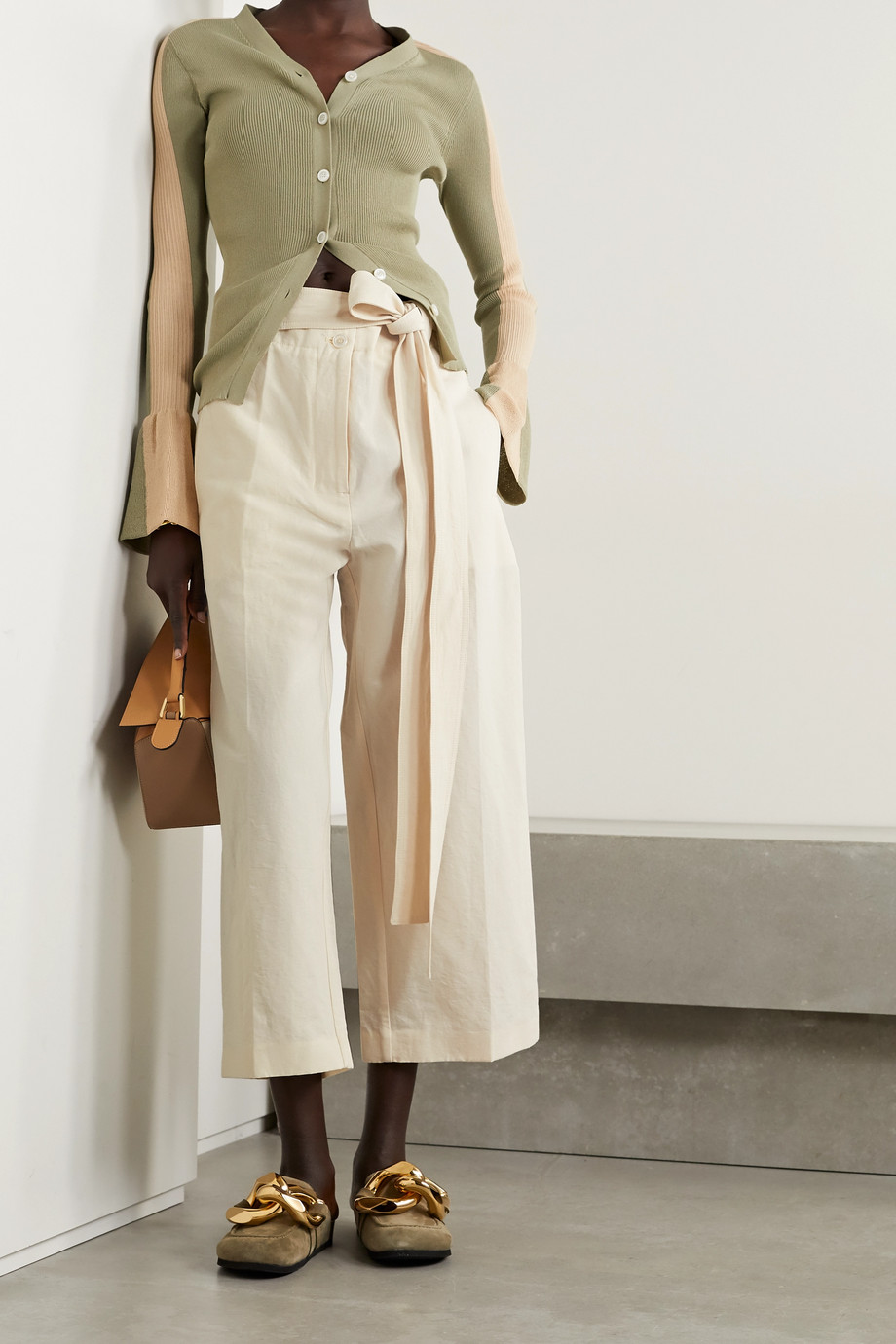 Moncler Genius + 2 Moncler 1952 cropped cotton and linen-blend wide-leg pants