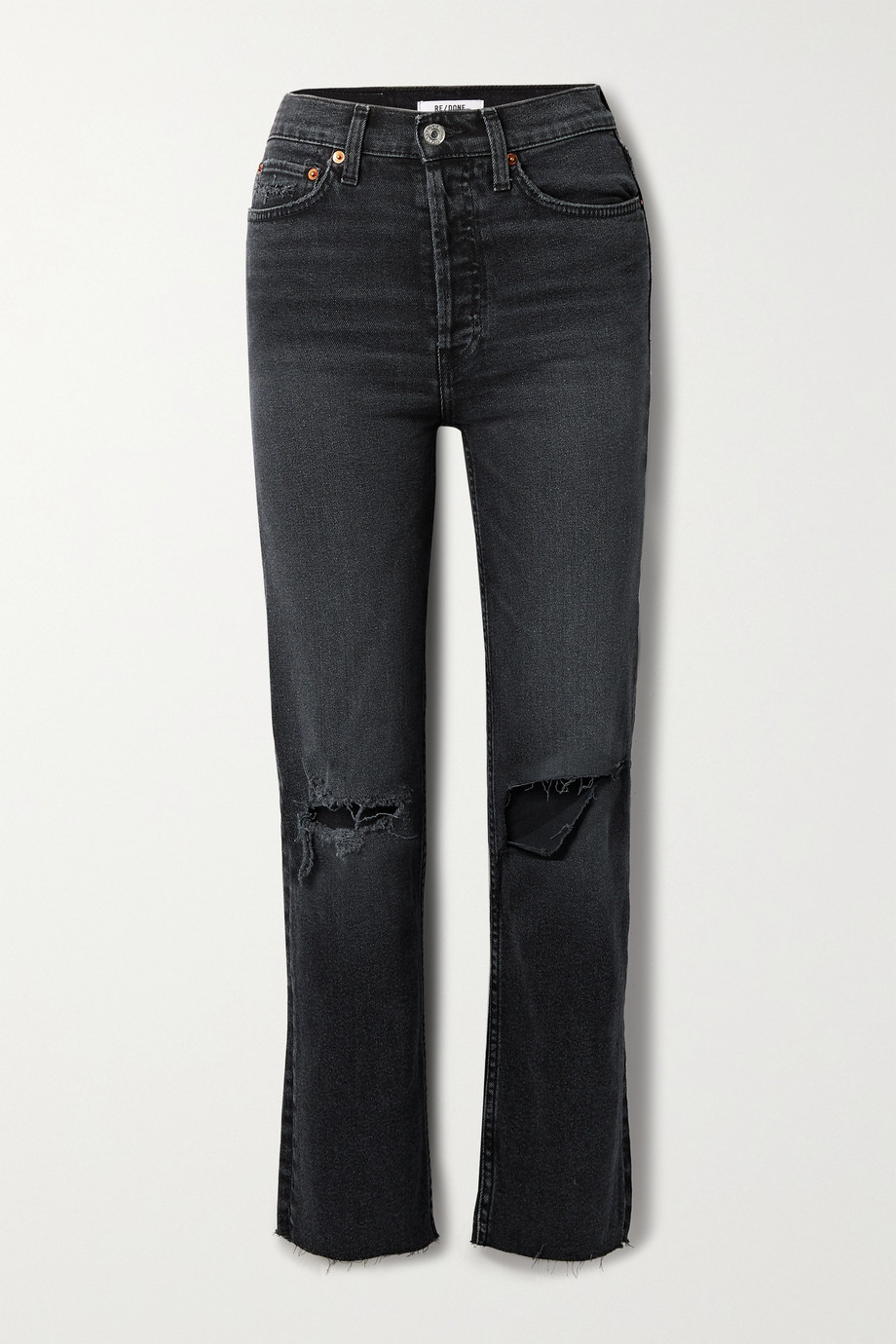 RE/DONE 70s Stove Pipe cropped distressed high-rise straight-leg jeans