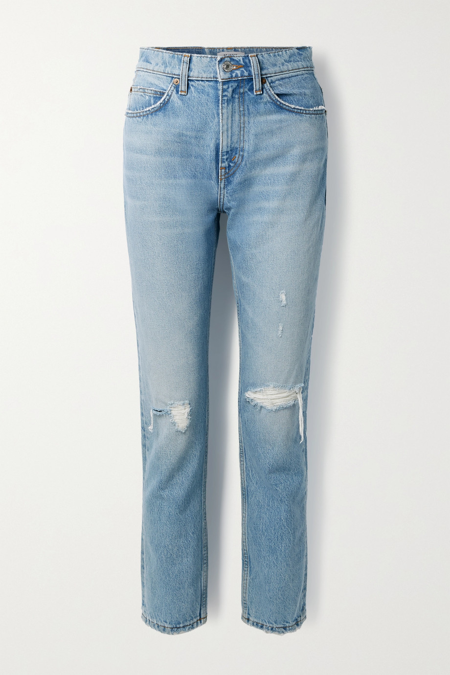 RE/DONE '70s distressed high-rise straight-leg jeans