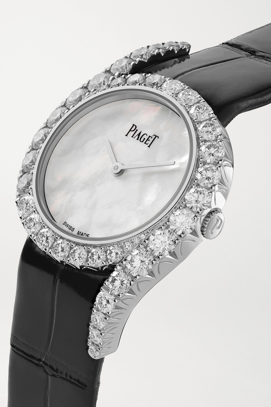 Piaget Montre en or blanc 18 carats, nacre et diamants à bracelet en alligator Limelight Gala 32 mm