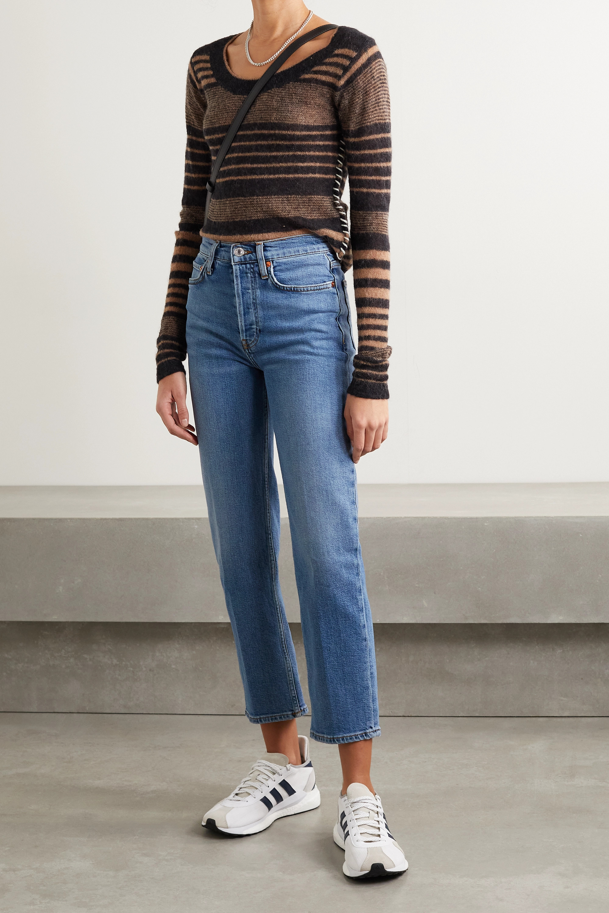 RE/DONE + NET SUSTAIN Originals Stove Pipe Comfort Stretch high-rise straight-leg jeans