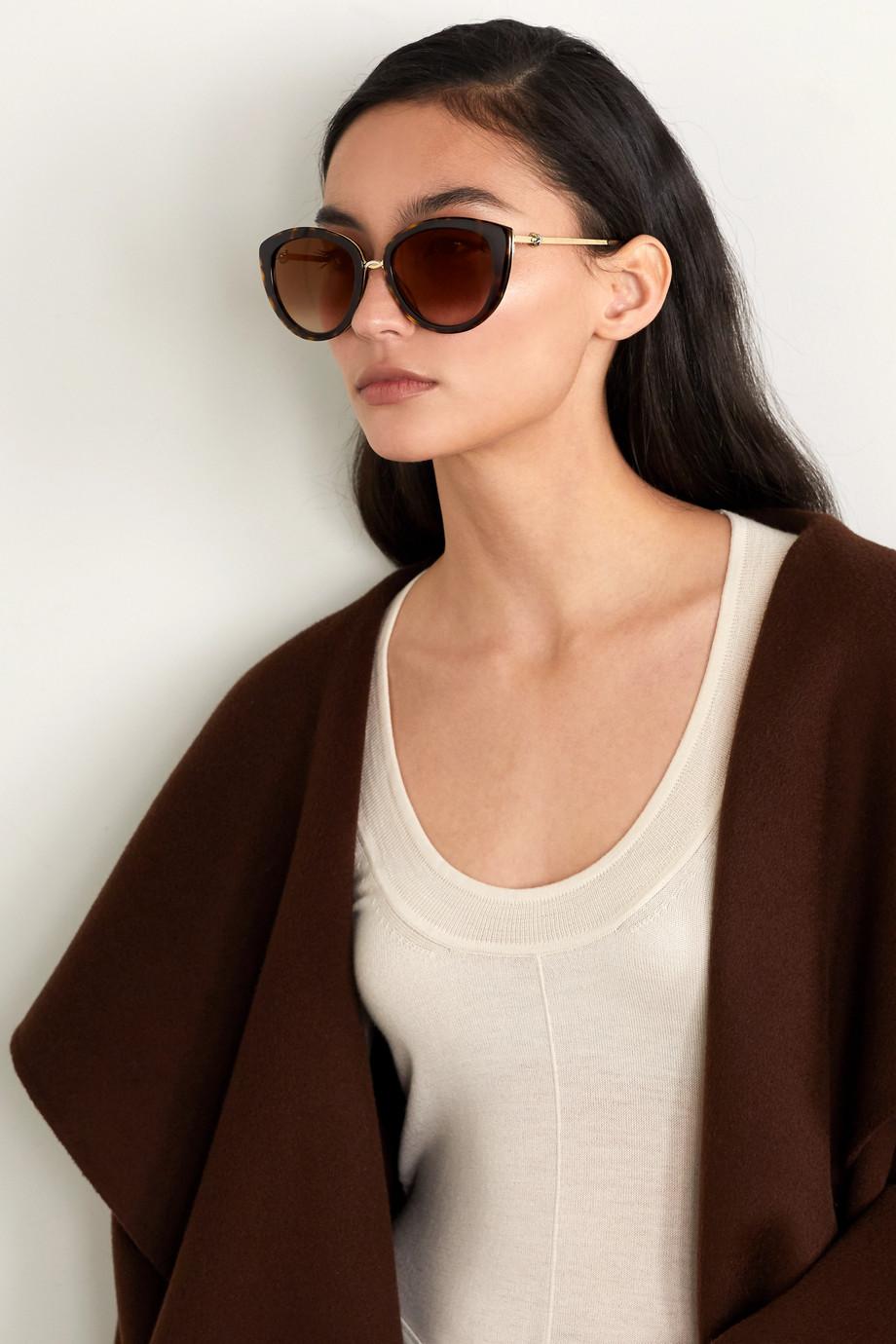 Cartier Eyewear Trinity cat-eye tortoiseshell acetate and gold-tone sunglasses