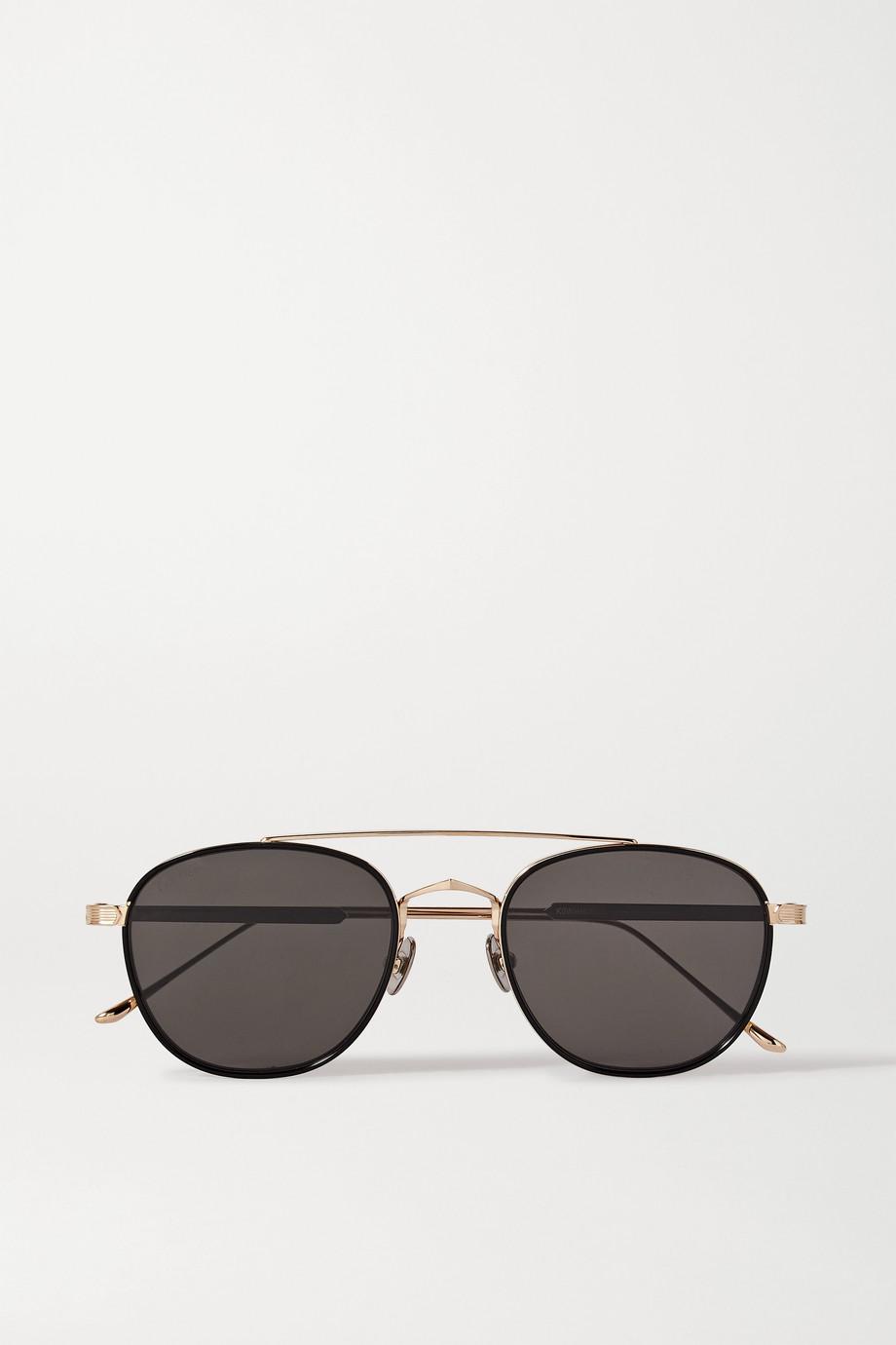 Cartier Eyewear Pilotensonnenbrille aus goldfarbenem Metall und Azetat