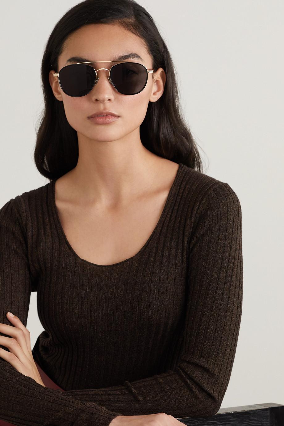 Cartier Eyewear Lunettes de soleil aviateur en métal doré et en acétate