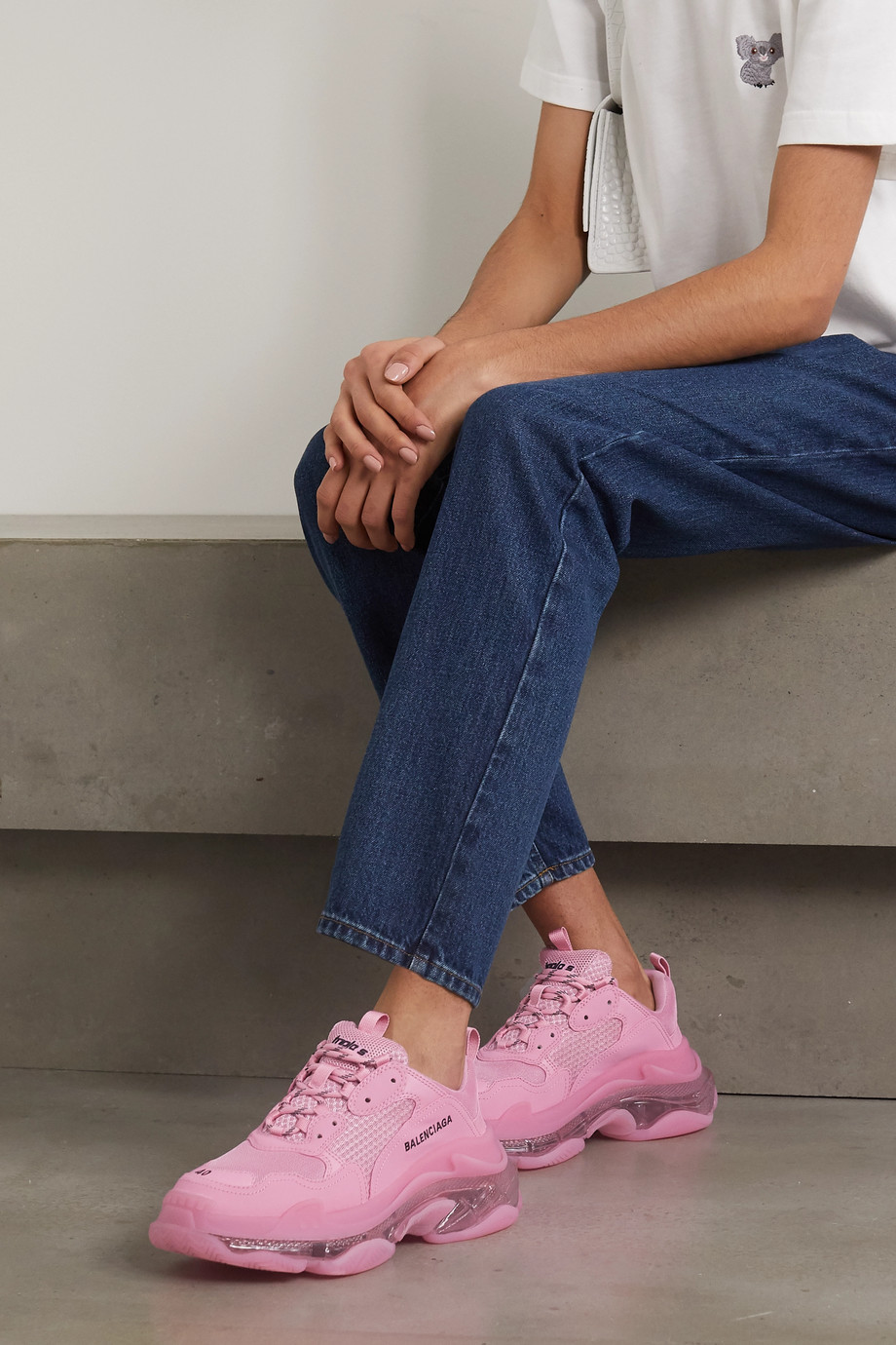 Balenciaga Triple S Clear Sole Sneakers aus Kunstleder, Schaumstoff und Mesh mit Logostickerei