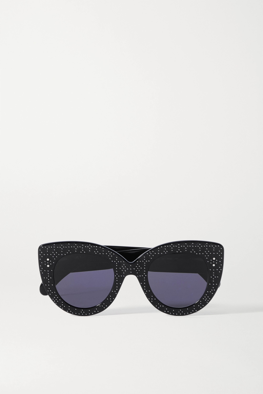 Alaïa Cat-eye studded debossed acetate sunglasses