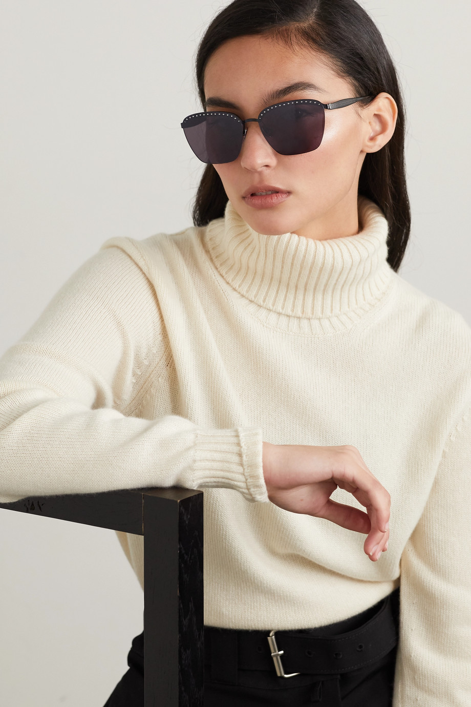 Alaïa Square-frame studded metal sunglasses