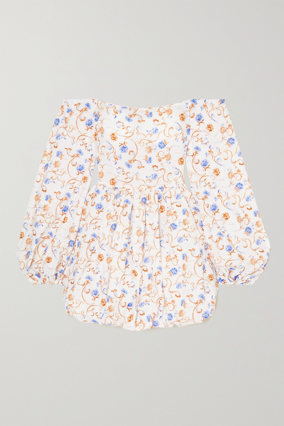 Caroline Constas Georgina off-the-shoulder floral-print cotton-blend mini dress