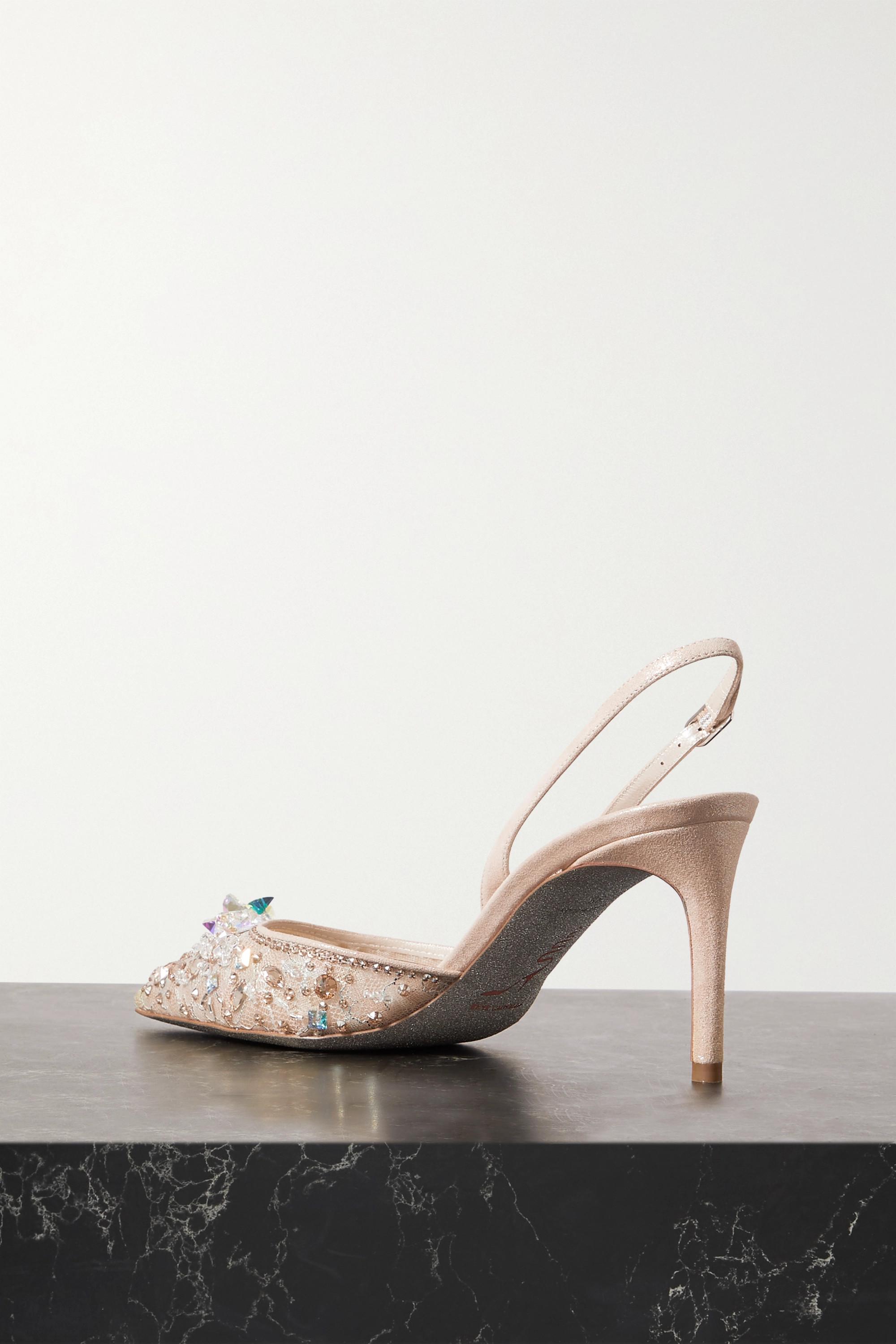 René Caovilla Crystal-embellished lace and leather slingback pumps