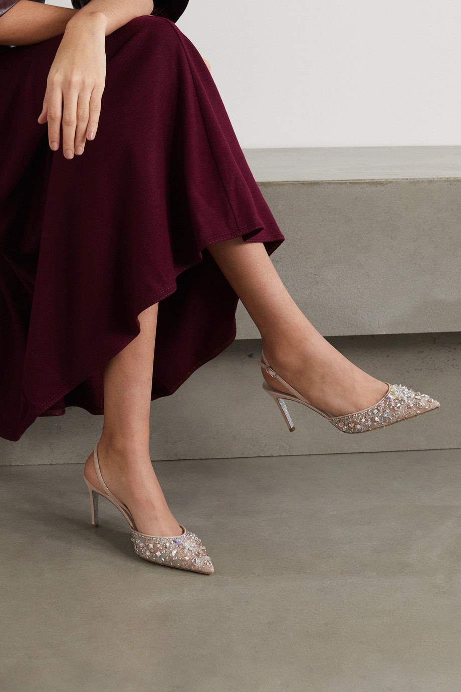 René Caovilla Crystal-embellished lace and leather slingback pumps