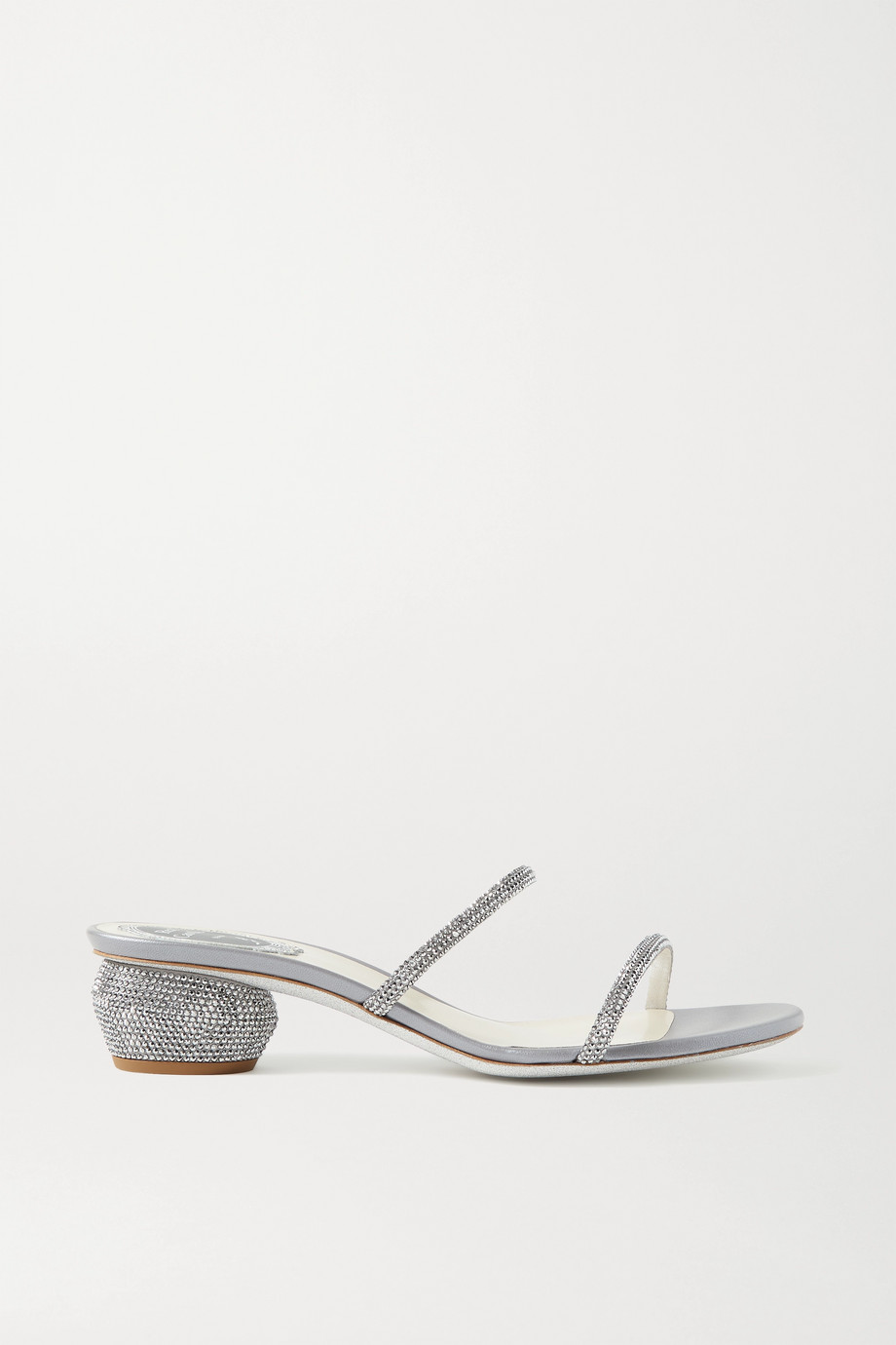 René Caovilla Crystal-embellished leather sandals