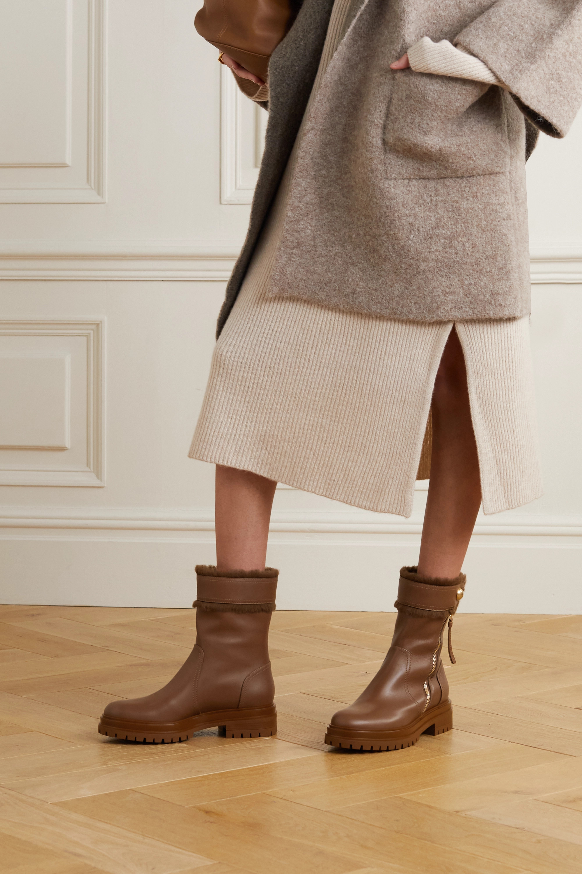 Gianvito Rossi Montreal shearling-trimmed leather ankle boots