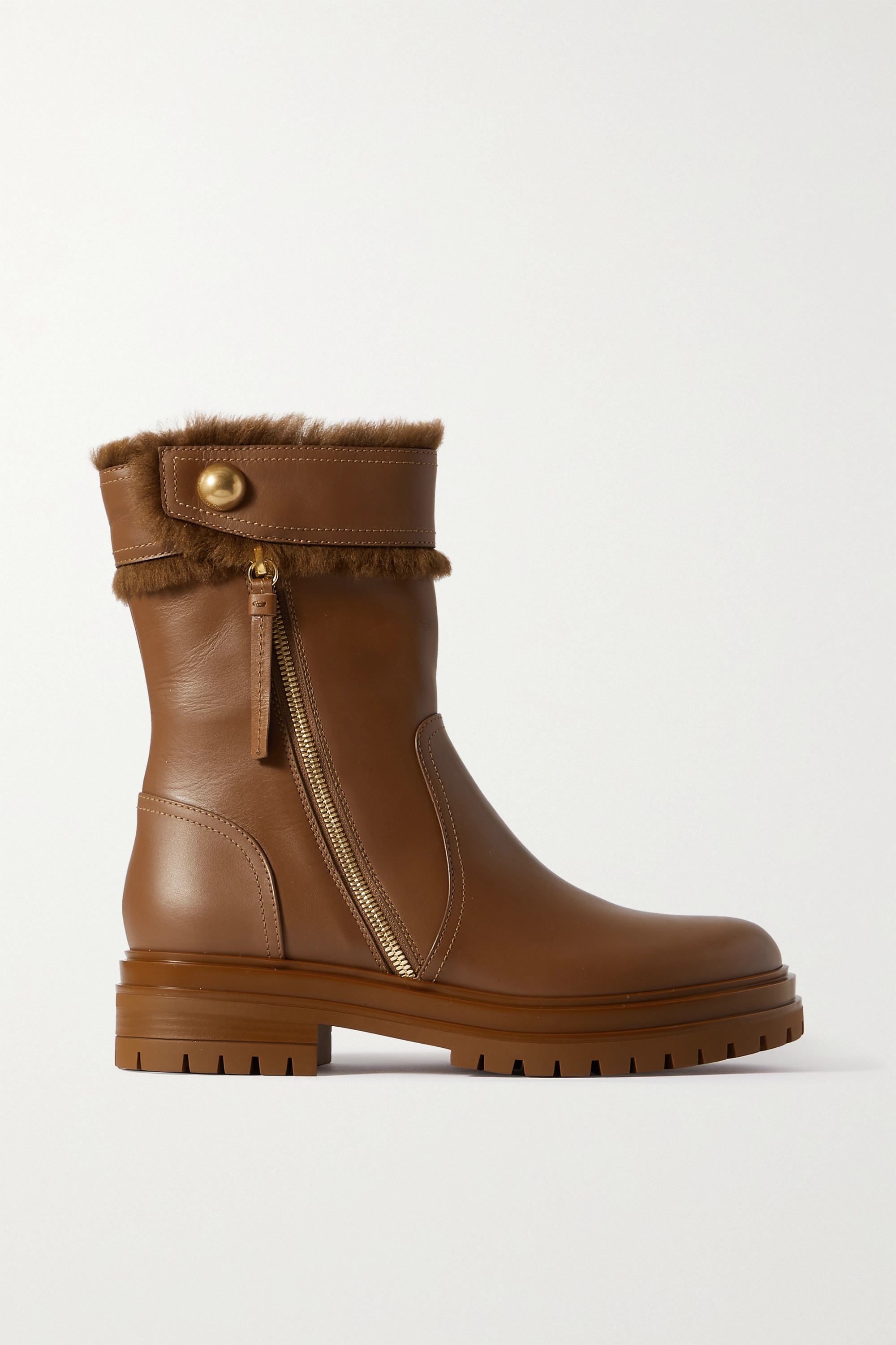 Gianvito Rossi - Montreal shearling-trimmed leather ankle boots