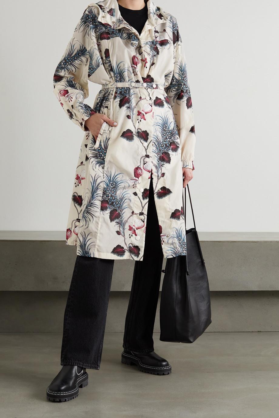 Moncler Alfard hooded belted floral-print shell parka