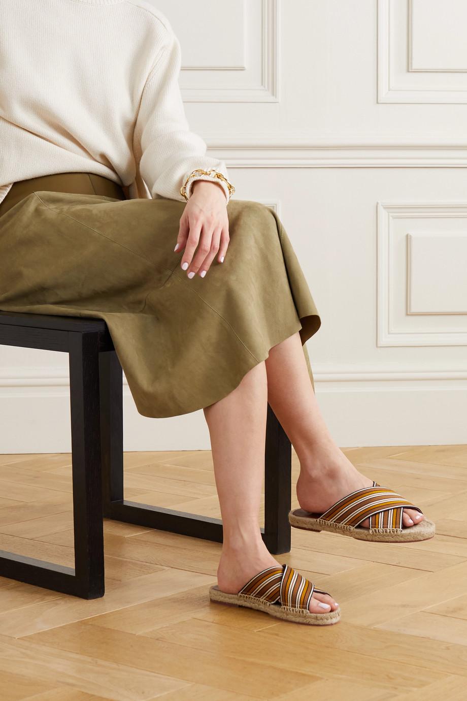 Loro Piana Claquettes façon espadrilles en toile à rayures Suitcase