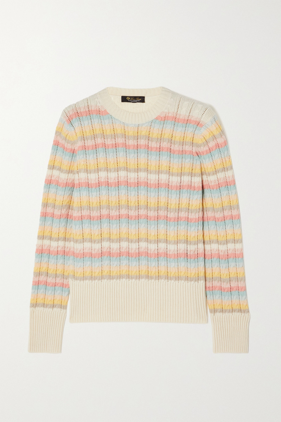 Loro Piana Vence striped cable-knit cashmere sweater
