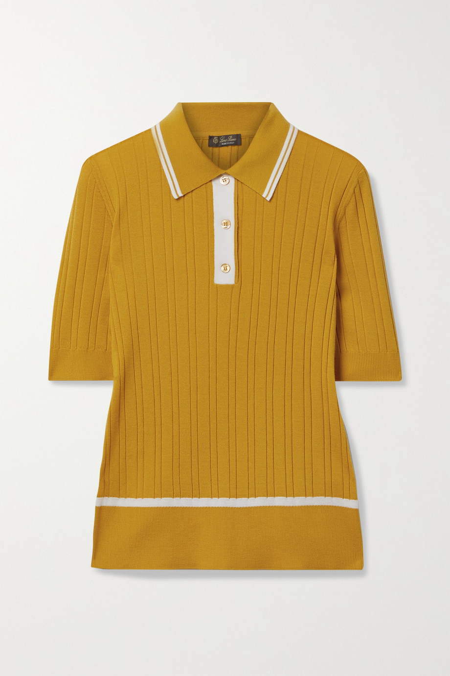 Loro Piana Benat striped ribbed cashmere and silk-blend polo shirt