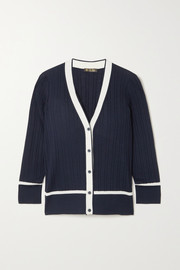 Loro Piana Benat two-tone ribbed cashmere and silk-blend cardigan