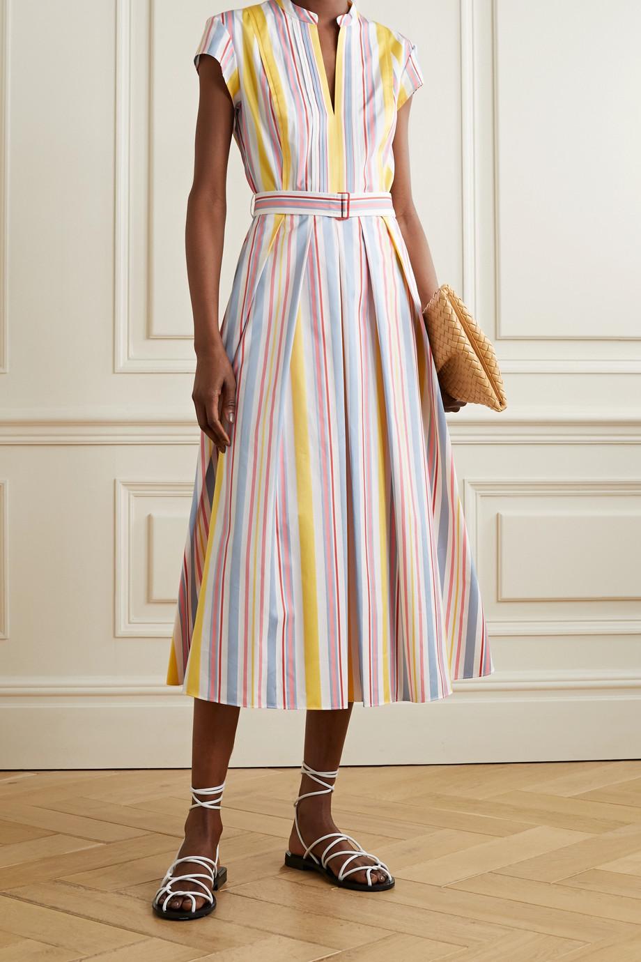 Loro Piana Rachele belted striped cotton-poplin midi dress